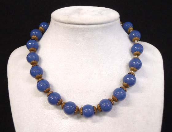 Lovely Vtg Smoky Blue Art Glass Choker