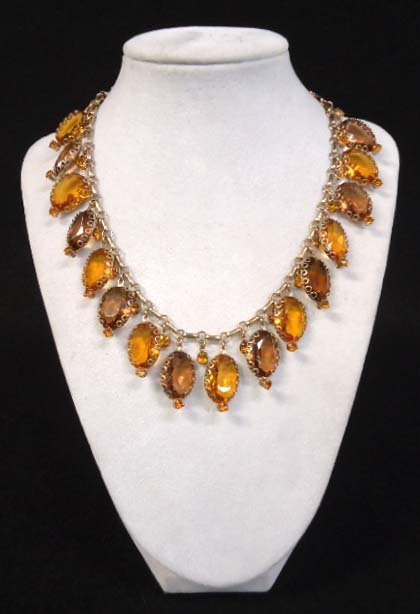 Dripping With Stones Topaz Vtg Necklace