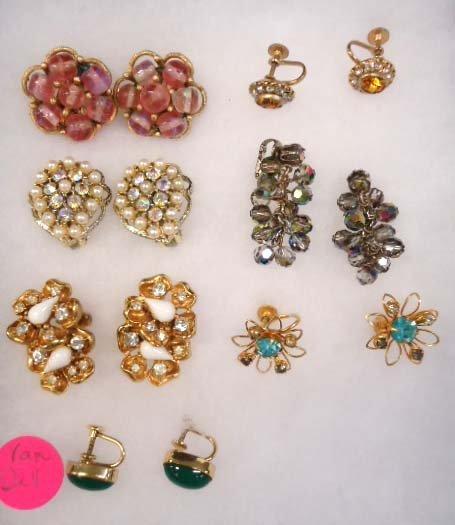 7 Pr.'s Vtg Designer Signed Earrings