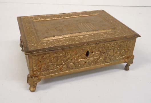 Ornate Brass Jewelry Cask
