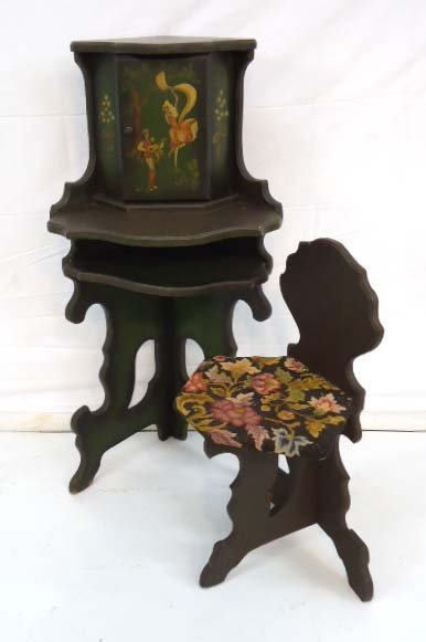 Painted Telephone Stand & Chairs