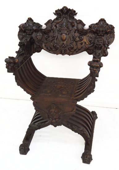 Heavily Carved Savonarola Chair