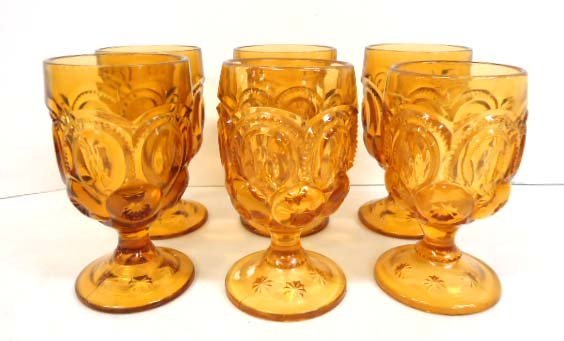 6pc Amber Moon & Star Goblets