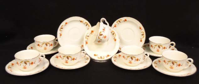 Hall Jewel Tea Cups & Saucers