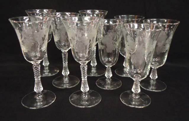 8pc Cut Glass Stemware