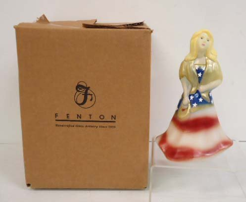 Fenton Hand Painted Patriotic Girl