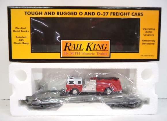 Rail King Flat Car & Die Cast Fire Truck