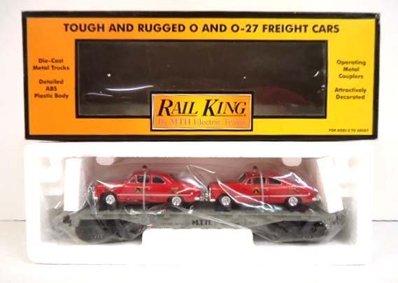 Rail King Flat Car & ERTL Fire Cars