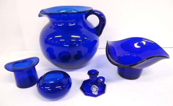 5pc Cobalt Glass Items