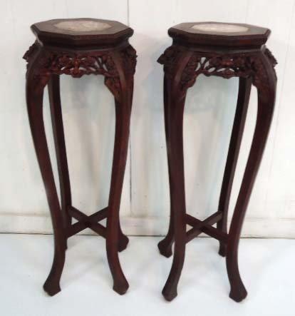 Pr. Carved Oriental Pedestals