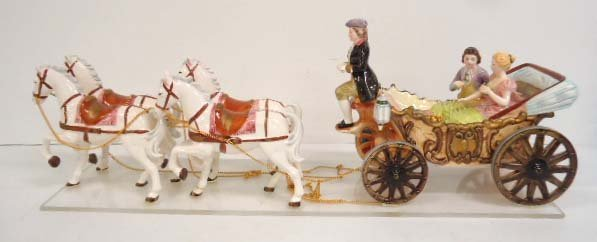 HP Porcelain Horse Carriage Music Box