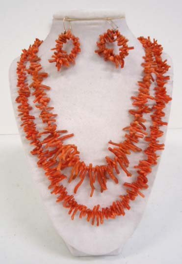 2 Branch Coral Necklaces & Earrings
