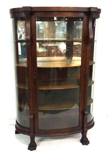 Curved Glass Oak China Cabinet