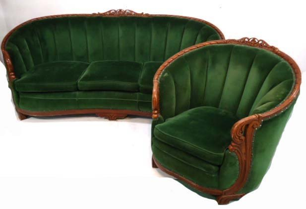 Carved Mohair Couch & Chair