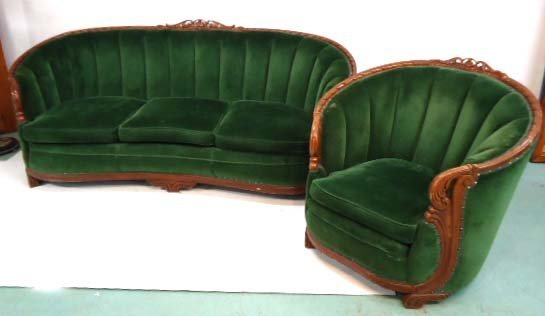 Carved Mohair Couch & Chair - 2