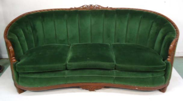 Carved Mohair Couch & Chair - 3