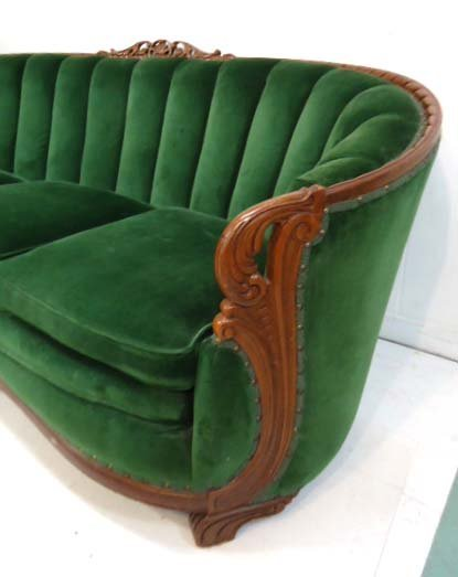 Carved Mohair Couch & Chair - 5