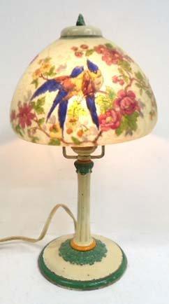 Signed Handel Lovebird Lamp