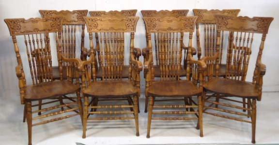 8 Oak Press Back Chairs