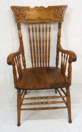 8 Oak Press Back Chairs - 2