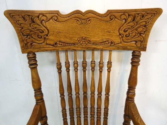 8 Oak Press Back Chairs - 3
