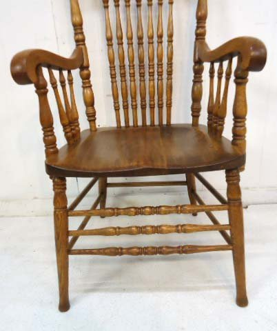 8 Oak Press Back Chairs - 4
