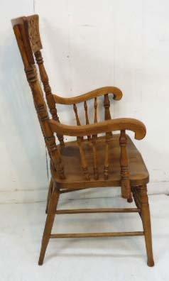 8 Oak Press Back Chairs - 5