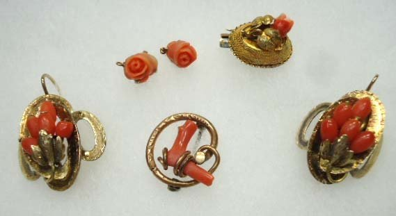 Great Vtg & Vict Coral Jewelry