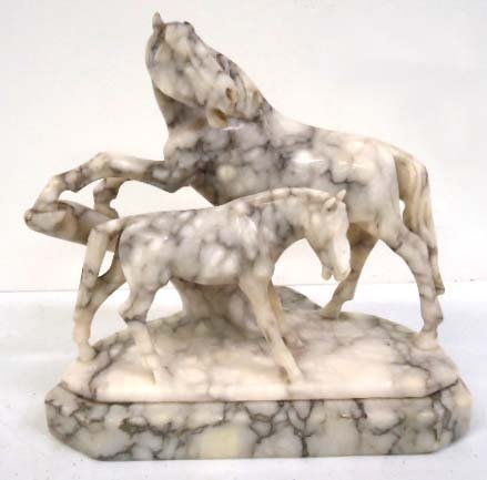 Carved Marble Horse Group
