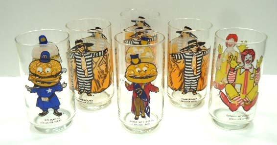 6 McDonalds Collector Glasses