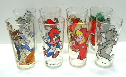 8 Pepsi Cartoon Collector Glasses