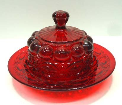 Ruby Glass Cheese Dish