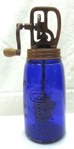 Blue Glass Butter Churn