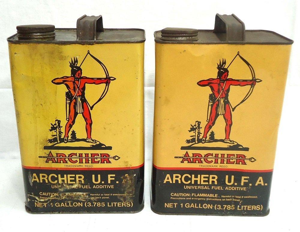 2 Archer Tin Gallon Cans
