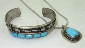 Sterling/ Turquoise Animal Bracelet & Necklace