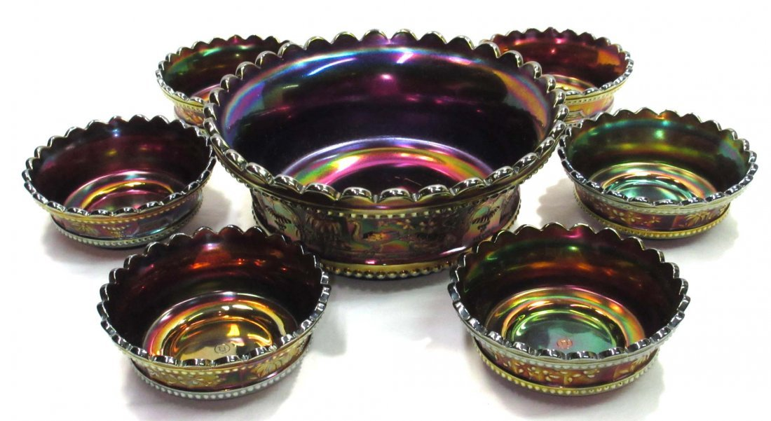 7pc Northwood Carnival Glass Berry Set