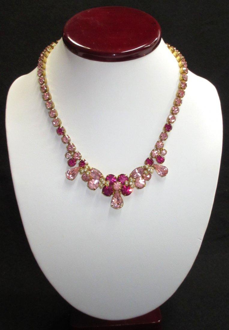 Eisenberg Pink & Fuchsia Vtg. Necklace