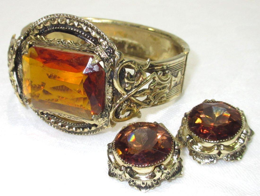 Early 1900's Topaz Bracelet/Whtg.&Davis Earr.'s