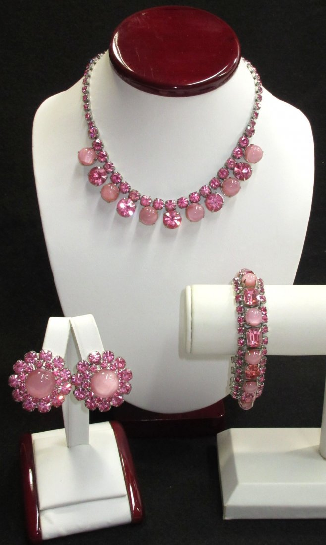 Lovely 3pc Boxed Pink Rhinestone Parure
