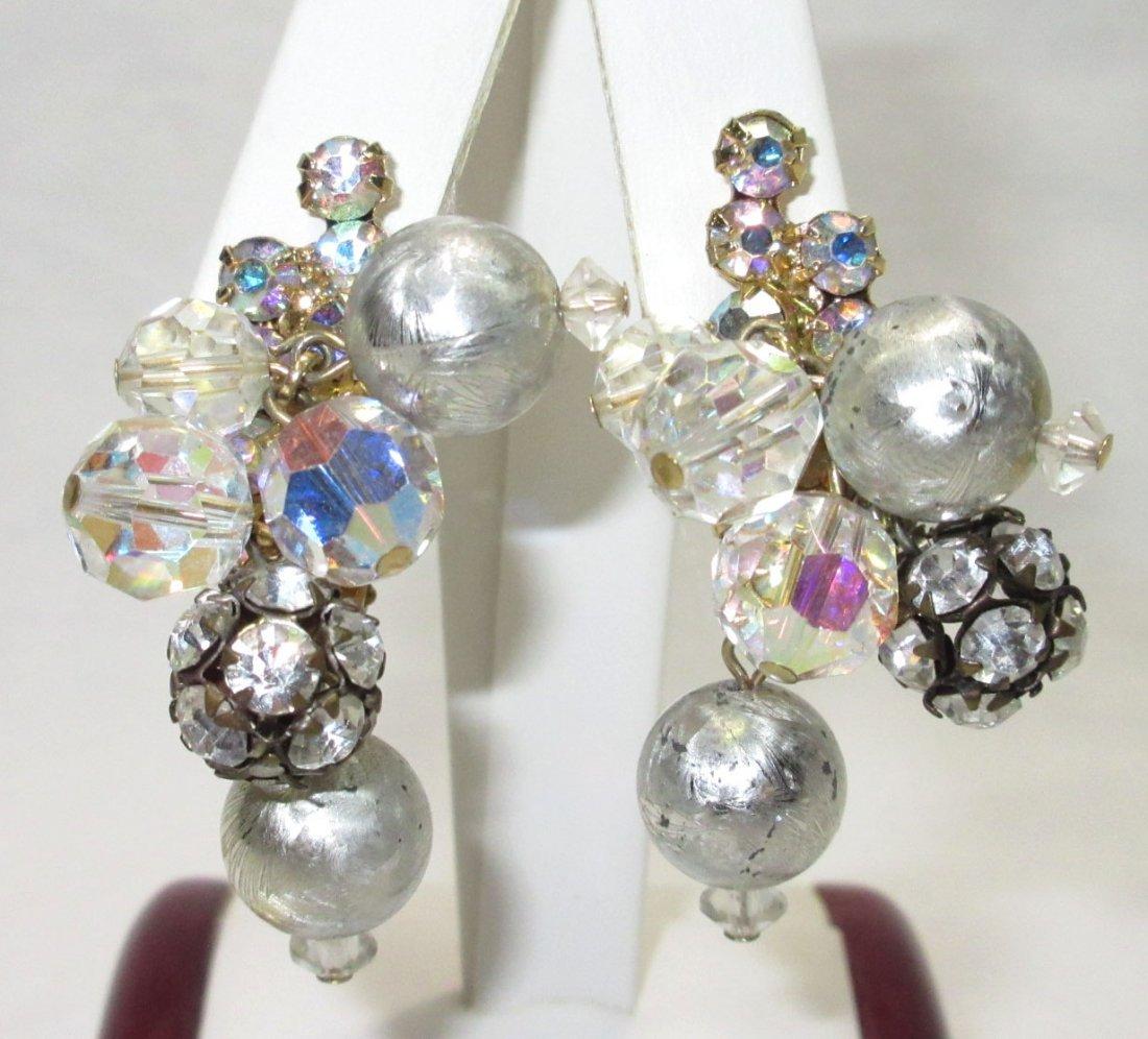 Vtg D&E Juliana Rondelle, AB Bead Dangle Earrings