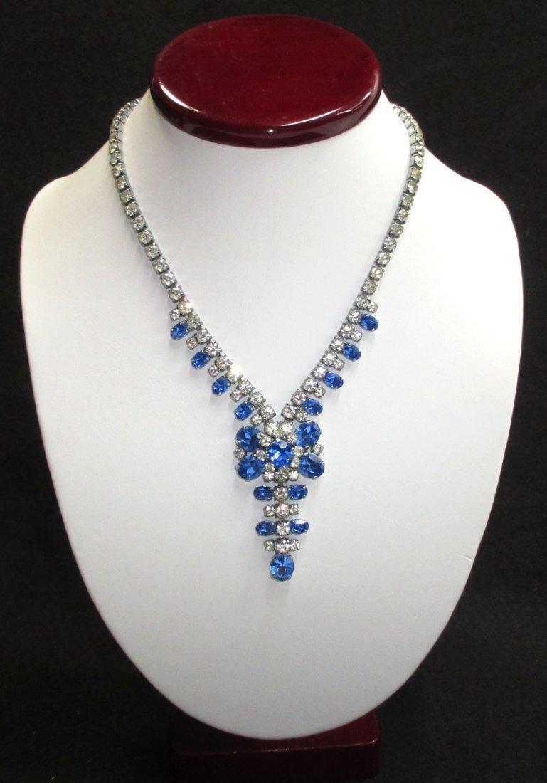 Brilliant Sapphire Blue/Clear Rhin. Necklace