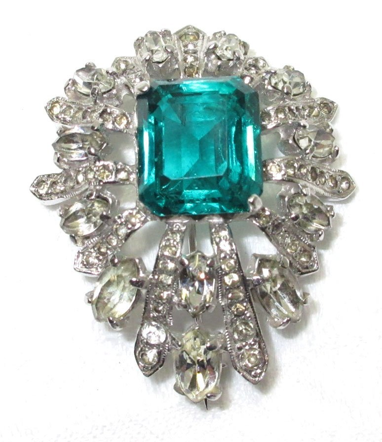 Vtg Eisenberg Open Back, Emerald Cut Brooch