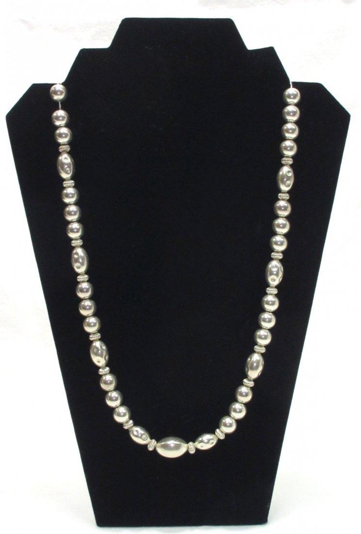 Sterling Silver Beaded Vtg. Necklace