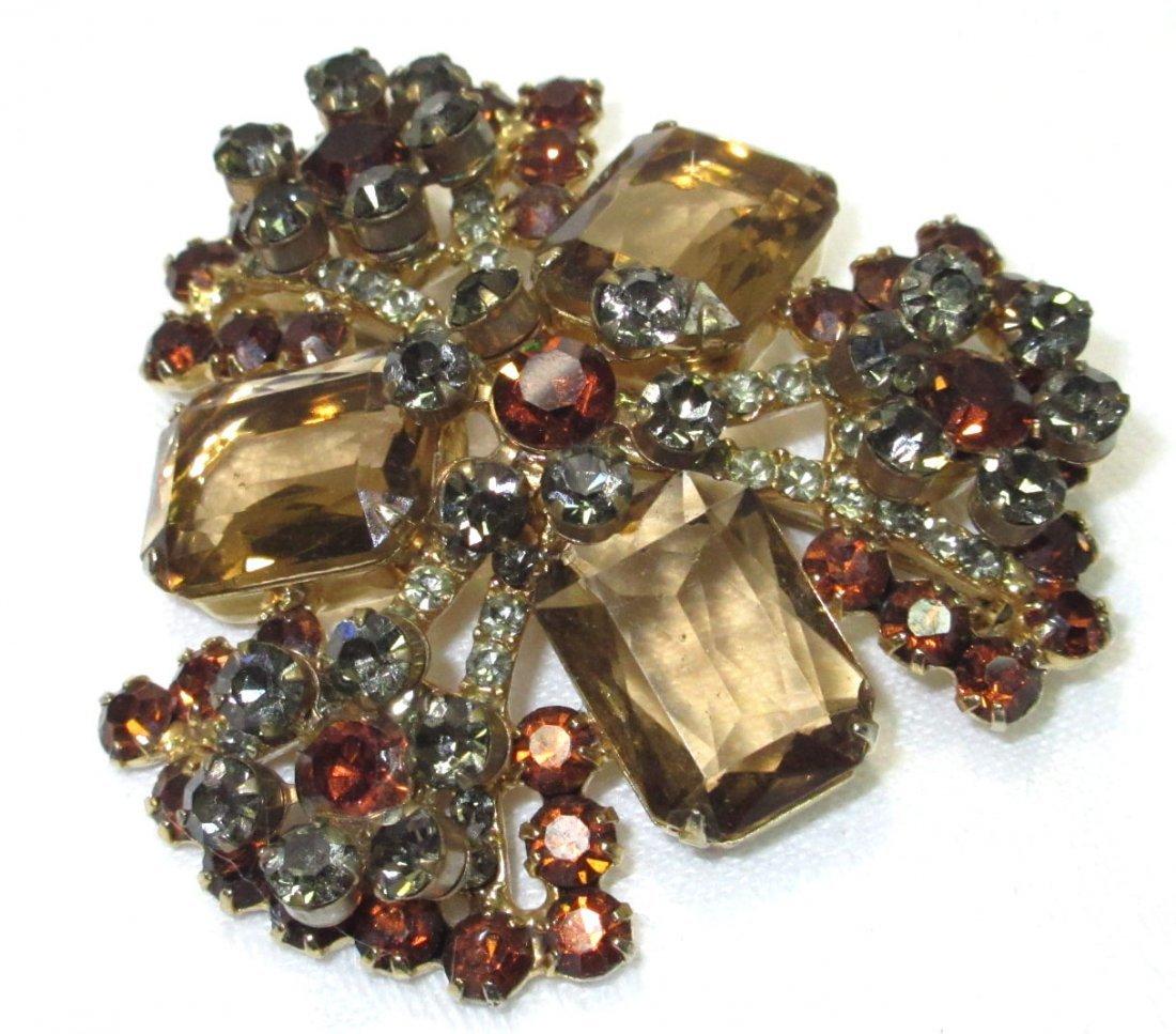 Vtg D&E Juliana Topaz/Black Diamond Brooch