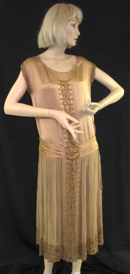 1920's Ornately Beaded Rich Brown Flapper Dress