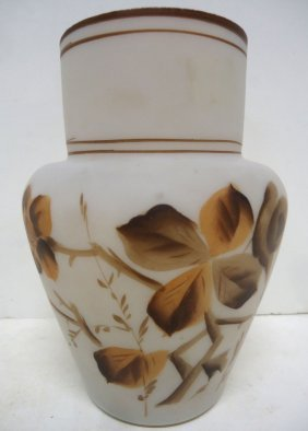 Fire Glow H.p. Art Glass Vase