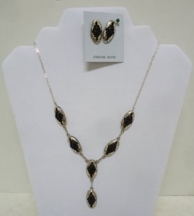 Navajo Onyx & Silver Necklace & Earrings