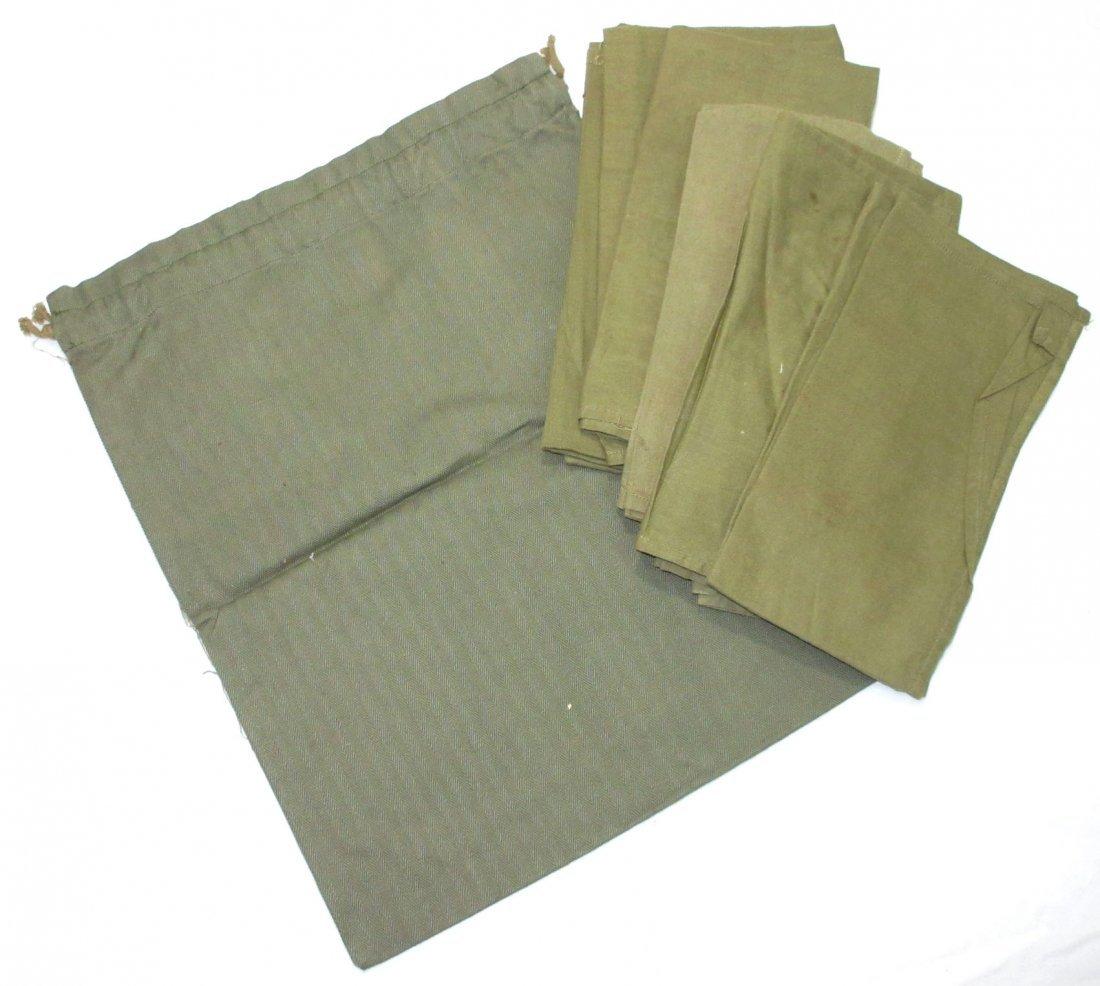 9 WWII Handkerchiefs & Bag