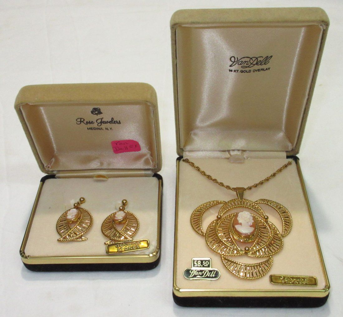Van Dell G.F. Cameo Earrings & Necklace