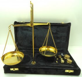 Set Of Cased Brass Scales